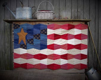 American Flag Wall Quilt, Primitive Decor, Patriotic Decor, 4th of July, Country Decor, USA,Summer Decor,Memorial Day, quilted wall hanging
