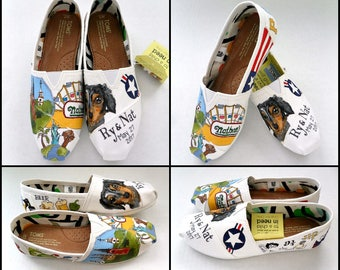 Wedding TOMS Flats Sizes 5-12 White Hand Painted Wedding Shoes Coney Island Wedding Shoes Pet Wedding Destination Wedding Shoes Wedding TOMS