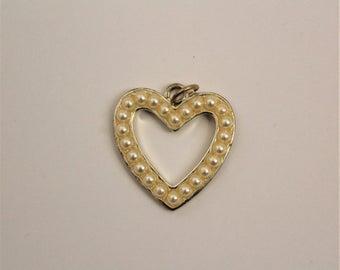 Pearl Beaded Open Heart Charm