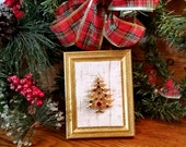 Vintage Gold Christmas Tree, Colored Rhinestones, Framed, OOAK, Holiday Decor, Mixed Media Assemblage, Handmade, Heirloom Handcrafted Gift
