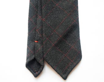 Black flanel wool with red check hand rolled untipped tie