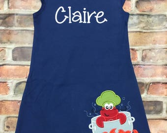 Personalized Girl's Crawfish Dress, Girls Crawfish Dress, Crawfish Boil Shirts, Toddler Girls Dresses, Girls Dresses, New Orleans Dresses