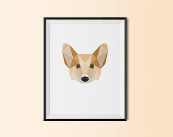Corgi Dog Portrait | Corgi Dog Art Print | Corgi Dog Custom Print | Corgi Dog Geometric Art | Corgi Dog