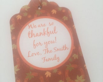 Set of 6 Personalized Thanksgiving Teacher Thankful For You Gift Tags Favor Tags-Ships in 3-5 days!