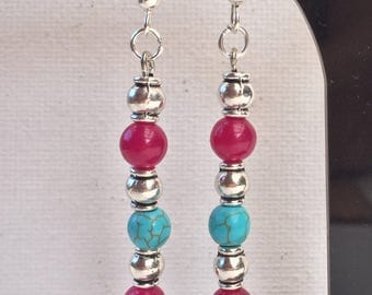 Pink and Turquoise bead Earrings