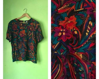 SALE Vintage TROPICAL shirt Colorful 1980s SLOUCHY top abstract hipster clothing 80s boxy top floral blouse rayon shirt womens Medium