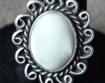 Native American Navajo Sterling Silver Mother Of Pearl Ring Size 7.75 James Harrison