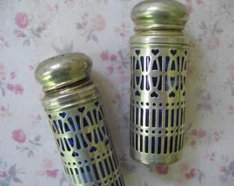 Vintage Salt and Pepper Shakers Cobalt Blue Glass,  Metal Filigree Casing,  UK Patent No. 1014132