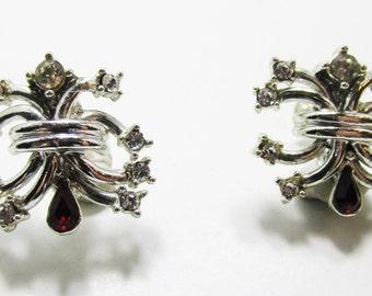 Rare Vintage 1950s Signed Duane Silver Toned Rhinestone Earrings