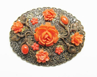 Vintage - Collectible - Coral Floral Pin - Jewelry - Copper - Coral - Pin - Brooch - Floral - Unique - Roses - Carved - Women's - Gift