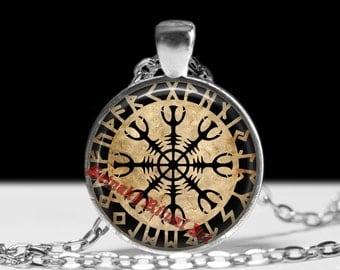 Helm of Awe talisman, Ægishjálmr necklace, nordic pendant, viking amulet, icelandic stave, pagan necklace, magic jewelry #452