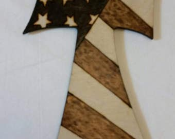 Patriotic Woodburned Cross