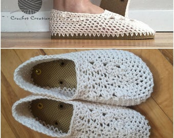 Crochet Flip Flop Slippers - indoor/Outdoor Shoes - Women's 7/8 - Ivory, Tan Soles