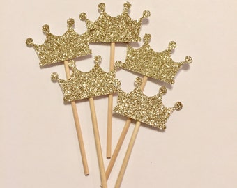 Gold Princess Crown Cupcake Toppers