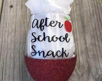 After School Snack Wine Glass, Glittered Wine Glass, Teacher Gift, Custom Glitter Glass, Wine Glass, Teacher Wine Glass
