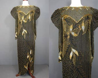 80's Beaded Dress......80's Black Silk Formal Gown With Deco Style Gold Beading