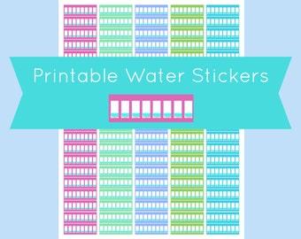 Erin Condren Water Tracker Stickers, Erin Condren Stickers, Erin Condren Printable Planner Stickers, Water Stickers Planner, Hydrate Planner