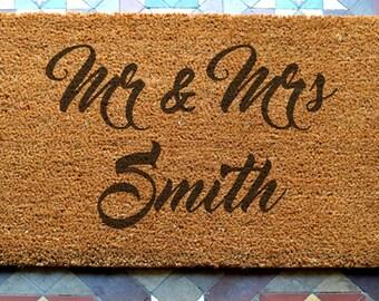 door mat mr and mrs engraved coir door mat Size: 400 x 600 mm   UK Based