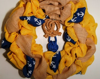Unique Nautical Burlap Door Wreath with Love Knot and Monkey Fist Home Decor