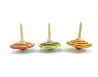 Three turned spinning tops (group K), Wooden games, Spinning top, Party favors, Party bags, Vintage toys, Wedding favors, SilvanWoodturning,