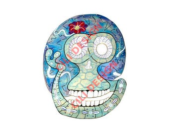 Photography of colorful skull - Funny skull drawing photograph - Automatic download