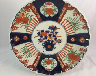 Large Imari ChargerWith Deep Cobalt Blue And Rust Colors