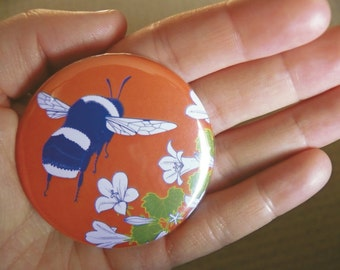 Bumblebee & bellflower pocket mirror