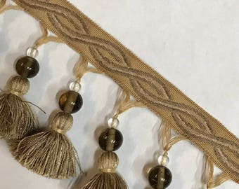 Gold - Taupe - Beaded - Tassel Fringe By The Yard