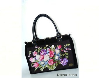Handbag, leather bag, embroidered by hand, Italian suede, crosstitch by hand, made in ukraine, embroidery bag, ukraine bag