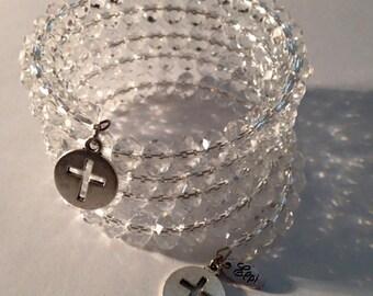 Crystal glass wrap around bracelet