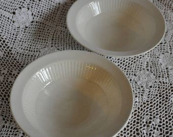 Adams English Ironstone Set of 2 Bowls, Cream White, 6 1/2 in. Diameter