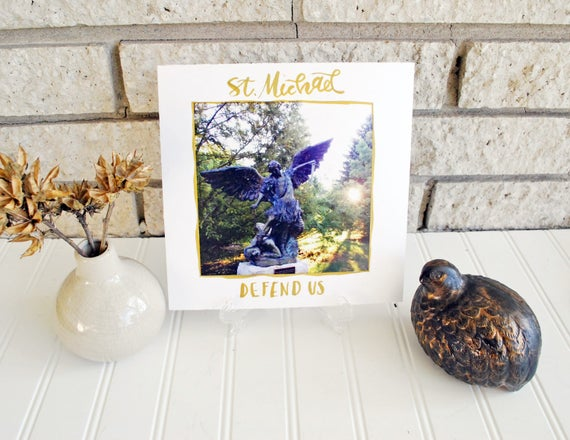 "8x8"" St. Michael Statue Photograph w/ Handlettering Calligraphy Catholic Christian Art Inspiration Print For the Home"