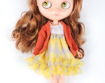 Blythe cardigan orange clothes by Blablablythe