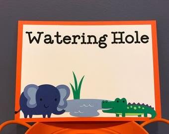 Boy Jungle Animal Watering Hole Sign
