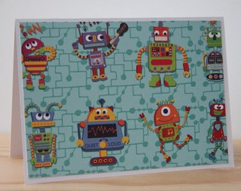 12 Robot Note Cards. Robot Thank You Cards. Party Invitations. Robot Birthday Cards. Boy  Note Cards. Boy Thank You Cards