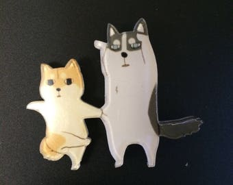 JApan akita dog puppy & husky friends dancing cute brooch