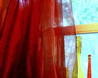 Sheer Drapery Panels ,Wide Width, Burgandy Fabric From Maxwell, By Jane Hall Design