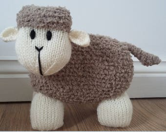 Hand Knitted Beige Fluffy Lamb - Childrens Soft Stuffed Toy