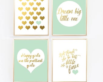 Mint Nursery Decor, Nursery Prints, Mint and Gold Prints , And though she be but little, Happy Girls happiest, Faux Gold foil (1420-4MINT)