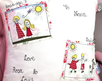 Childs drawing cushion - freehand embroidered memories