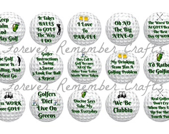 INSTANT DOWNLOAD Funny Golf Sayings & Quotes Bottle Cap Image Sheets *Digital Image* 4x6 Sheet With 15 Images