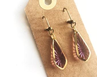 Earrings   vintage look pink & gold glass drop