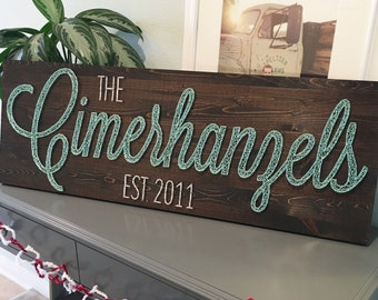 LARGE String Art Name Board - custom name with or without year established