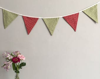 Red and Green Floral Bunting | Party | Wedding | Home Decor | SALE