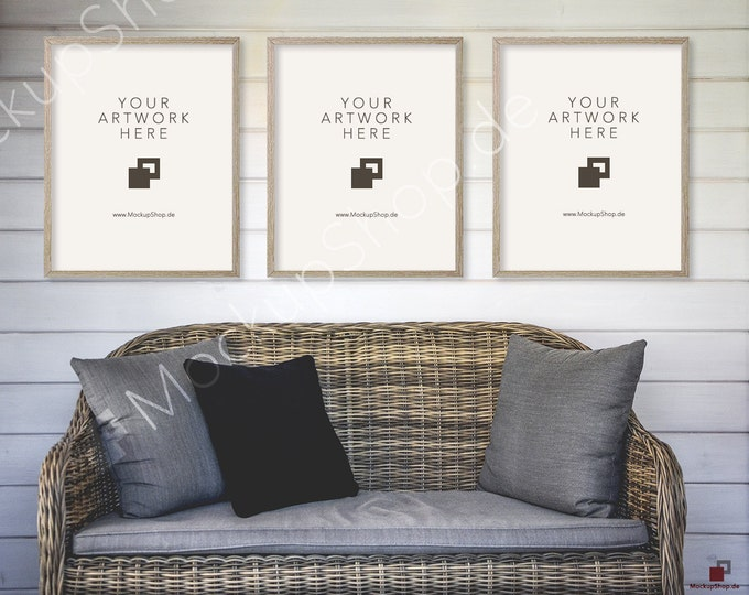 "Set of 3 / 8x10"" VINTAGE MOCKUP FRAME // Empty Frame Mockup / Interieur Mockup / Rattan Sofa Mockup / Interieur Mockup Photo Interieur Frame"
