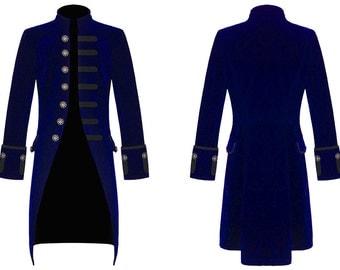 Mens Steampunk Vintage Tailcoat Jacket Velvet Gothic Victorian BLUE/BLACK/RED Frock Coat