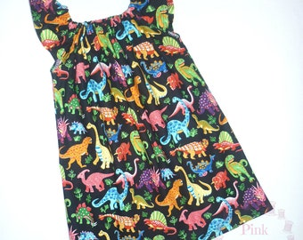 Dinosaur dress - tomboy outfit - angel/flutter sleeves - short-sleeved - baby - toddler - girl's - dinosaur clothing - newborn to 12 years