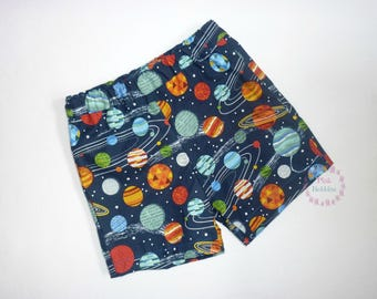 Space shorts - planet shorts - boys outfit - girls clothing - cotton summer - handmade outfit - navy blue - geeky shorts - 6m to 12yrs