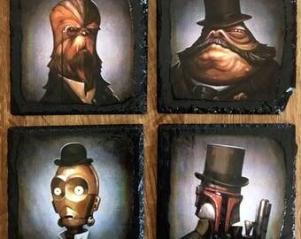 Steampunk Star Wars slate coasters