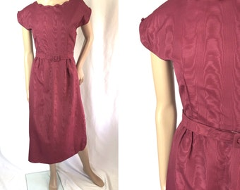 Xs ** 1940s DARK RASPBERRY rayon moire belted day dress ** vintage forties dark pink dress